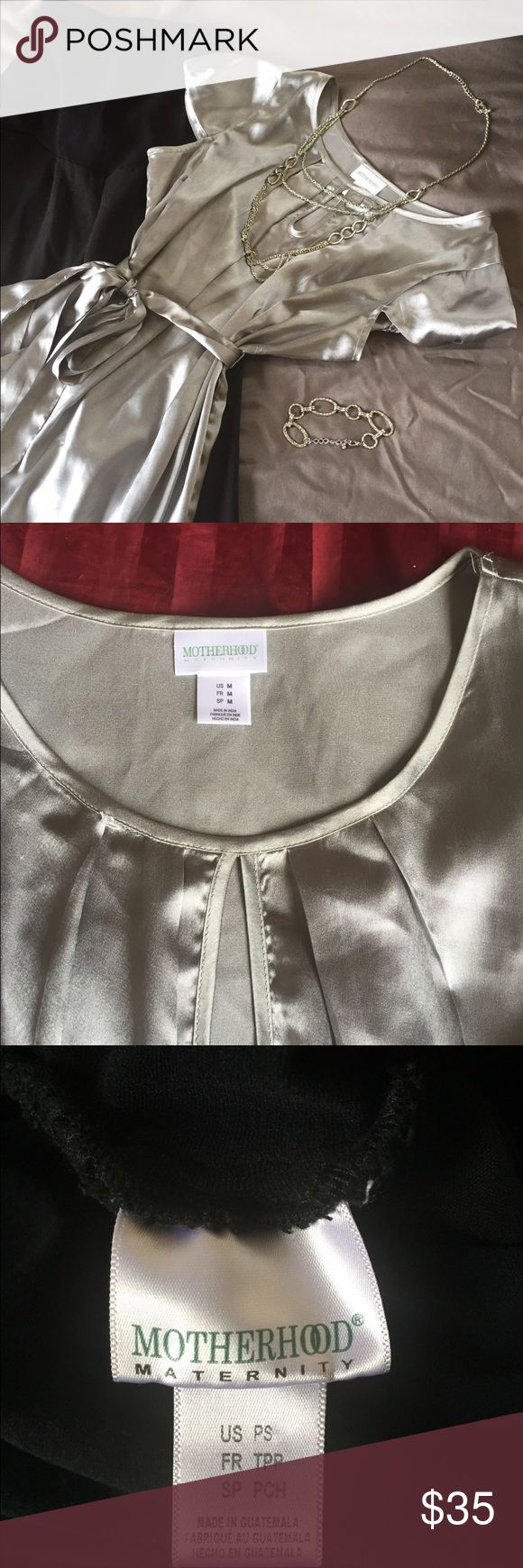 Maternity top with dress pants Silver maternity top with dress pants. Can be worn for work or a night out on the town. EUC can be sold separately or as a set. Jewelry listed in separate post. Motherhood Maternity Other