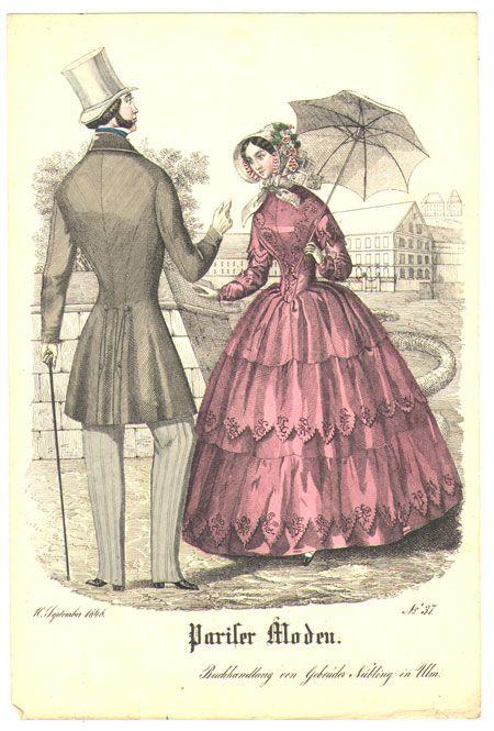 1848 fashion plate, Pariser Moden (via marinni | Старинные зонтики. 17-19 век. Часть 2.)