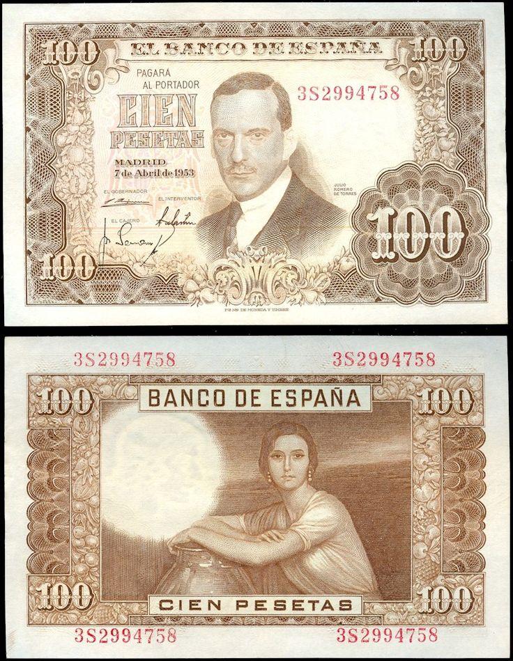 Las cien Pesetas de 1958. Julio Romero de Torres, pinto la mujer morena de la copla.