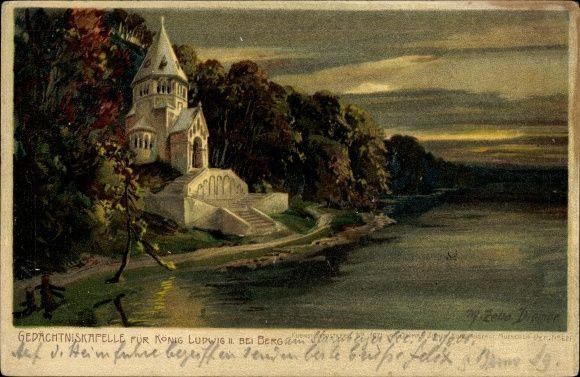 Artist Chromo-Litho Diemer, Zeno, Berg Starnberger See Oberbayern, Gedächtniskapelle