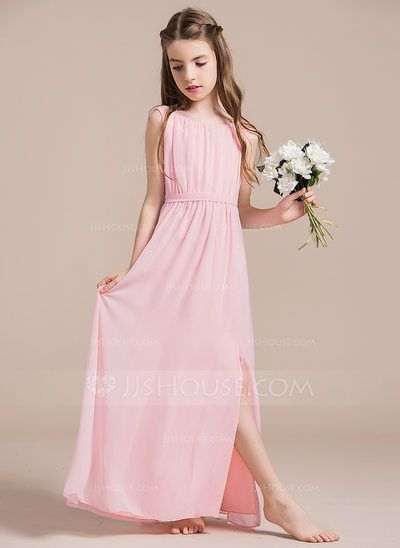 [US$ 71.99] A-Line/Princess Scoop Neck Floor-Length Chiffon Junior Bridesmaid Dress With Ruffle Split Front (009087913)
