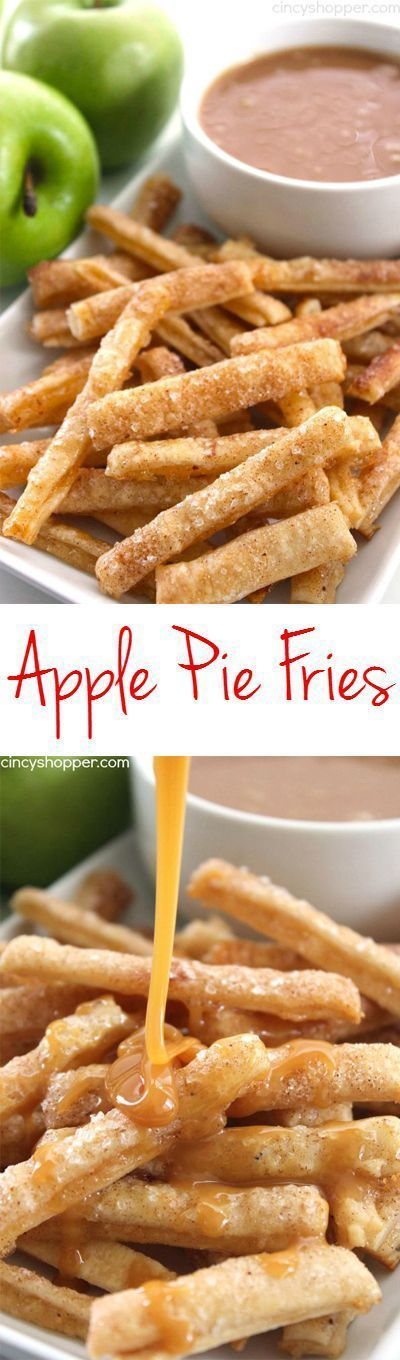 Apple Pie Fries -Super fun spin on a traditional apple pie. Dip them in caramel…