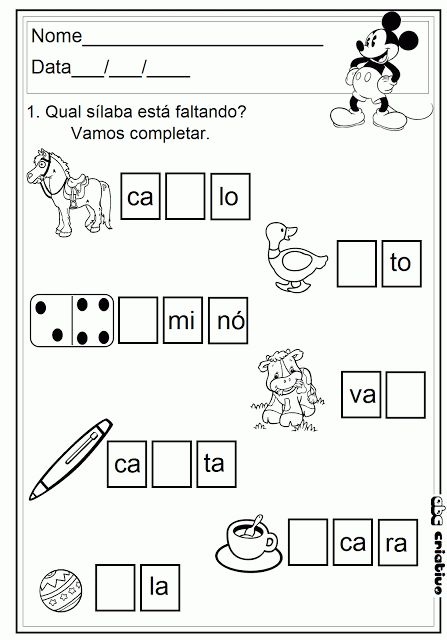 Atividades com Sílabas Simples -  alfabetização