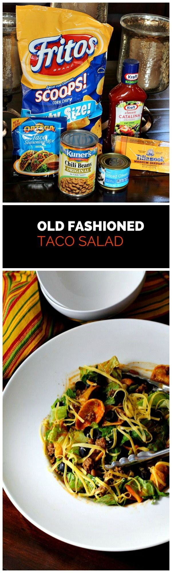A blast from the past. Old fashioned Taco Salad Recipe. With lettuce, tomato, Catalina dressing, taco seasoned ground beef, chile beans and topped with plenty of grated cheese. This is an easy weeknight meal and extremely kid friendly.