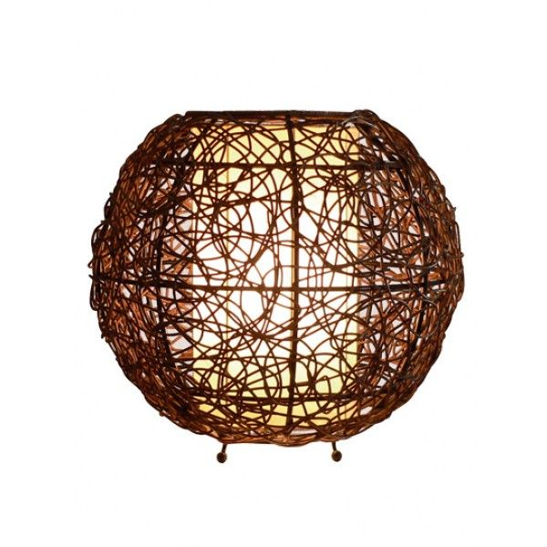 Barbados Small Round Table Lamp In Brown Wengee Cane