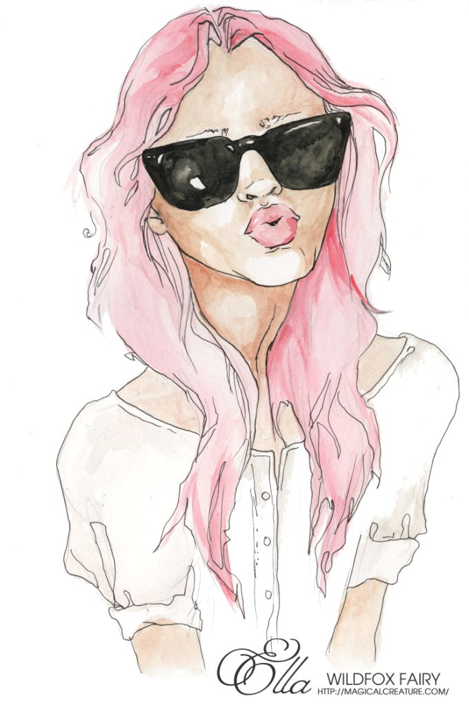 : Wildfox Couture, Pink Hair, Kimberley Gordon, Paperfashion Nets Art, Fashion Illustration, Electric Raspberries, Pencil Drawing, Hair Chalk, Art Illustration