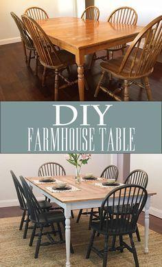 DIY table de ferme - fait main, customisation, tutoriel, relooking mobilier, idées, recycler des meubles, peinture, joli ensemble de repas, makeover