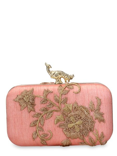 Zari work boota on coral pink base with work on both sides of silk clutch.  The clutch has a top clasp with Rusaru's signature knob in the feminine forms of 'Peacock' and 'Swan'.Designer purses by Rusaru | Shop on www.jivaana.com for all your Indian weddings and festivals.  #jivaana  #indian #clutches