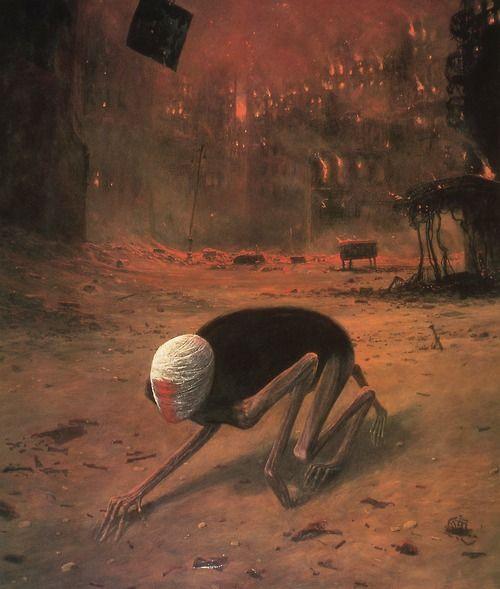 Zdzislaw Beksinski Polish artist,  sculptor,  illustrator &  graphic designer who refused to name any of his artworks.