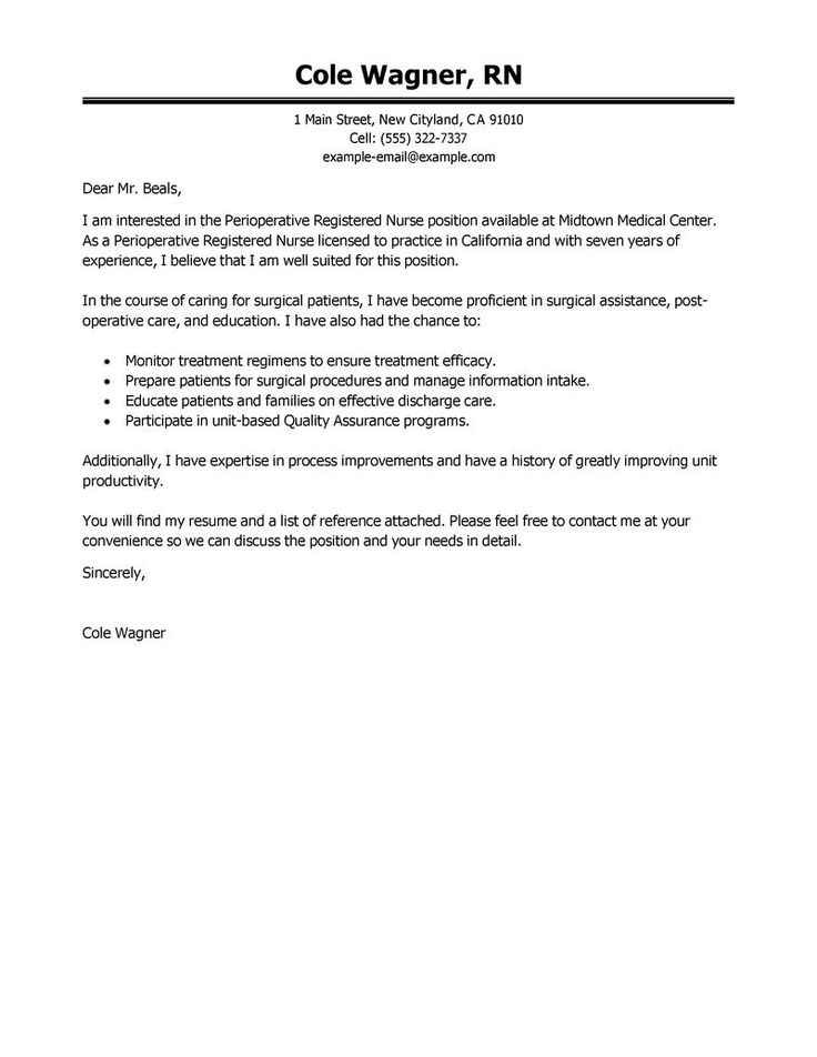 leading professional perioperative nurse cover letter examples nursing student patient account specialist