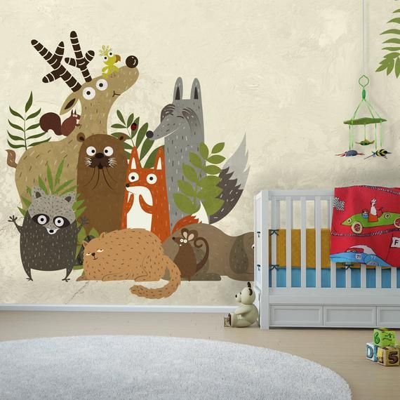Cartoon Cute Animals Kids Room Wallpaper Nursery Wall Decal Self Adhesive Wallpaper Kids Wall Mur Kids Room Wallpaper Animal Kids Room Nursery Wall Decals
