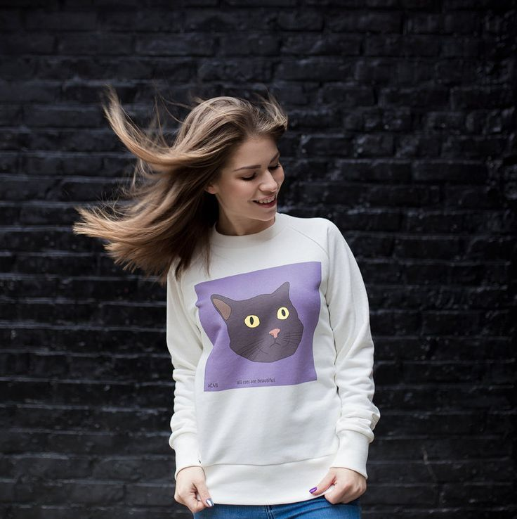 Weird Cats Cotton Sweatshirt, Women's sweatshirt, Unisex Sweatshirt, Cats Print, Cotton Sweatshirt, Printed sweatshirt, Longsleeve, Hipster by LikeShop2U on Etsy