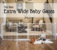The Best Extra Wide Baby Gates: Often the space you need to enclose has an extra large doorway or gap that makes it impossible to divide with a standard-width baby safety gate. Find the best extra wide baby gate to divide the space using this handy comparison guide.