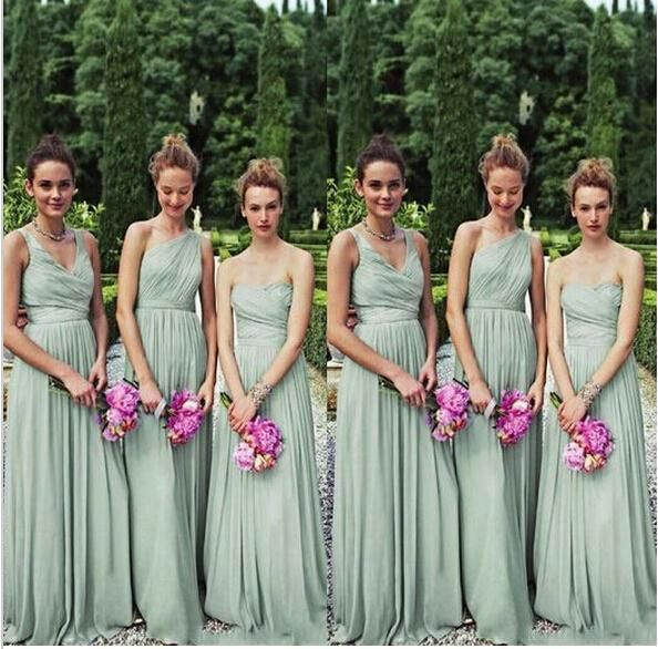 Long Bridesmaid Dresses V Neck One Shoulder Chiffon Sage Maid Of Honor Plus Size Beach Bridal Dress Wedding Party Gowns 2016