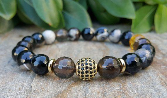 Men's 10mm Stone Bracelet, Men's Gold Bracelet, Diamonds Ball Bracelet, High Quality Stone Bracelet, Stretch Wrist Mens Bracelet Gift