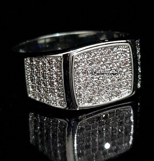 1.60 TCW VVS1 Diamond 14k White Gold Finish Engagement Wedding Pinky Men's Ring #br925silverczjewelry #MensWeddingRing #WeddingEngagementAnniversaryBirthdayGift