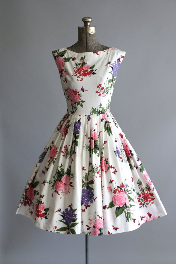 Vintage 1950s Floral Dress Thank you all for following my fashion Board!.