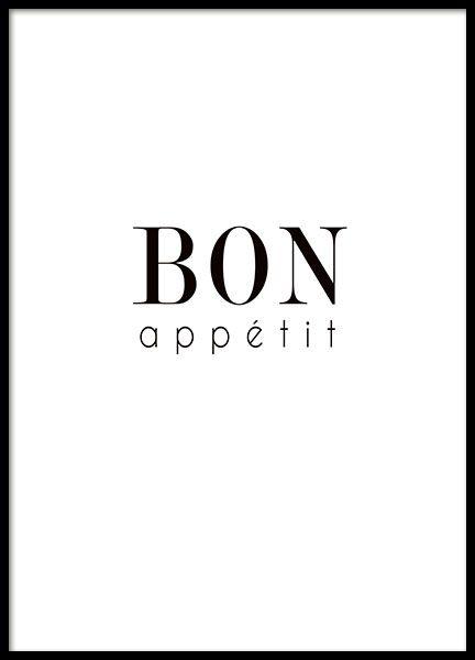"""Typografie-Poster für die Küche mit dem Schriftzug """"Bon appétit"""". Das Poster ist in Schwarz-Weiß gehalten und passt so perfekt zu unseren anderen Küchenpostern, warum nicht gleich in einer ganzen Bilderwand? www.desenio.de"""