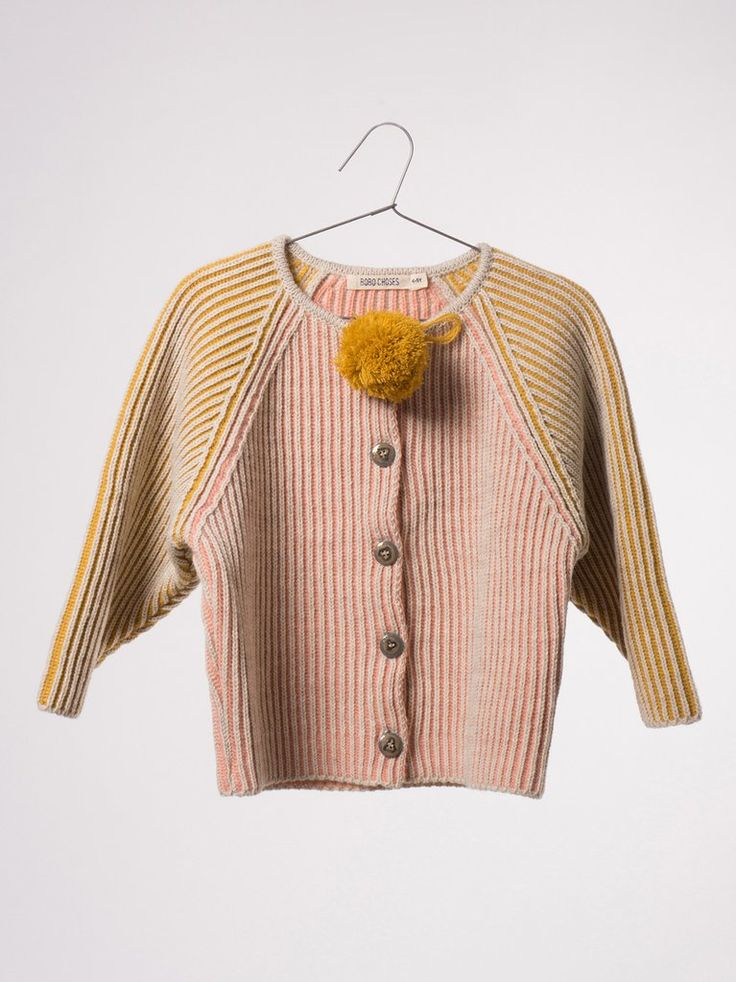 Knitted Cardigan Bicolour Pink