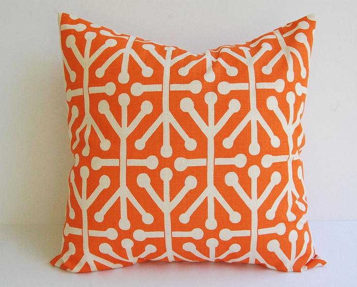 """Orange throw pillows pair of two pillow covers 18"""" x 18"""" orange and natural Aruba print Autumn Fall pillow. $34.00, via Etsy."""