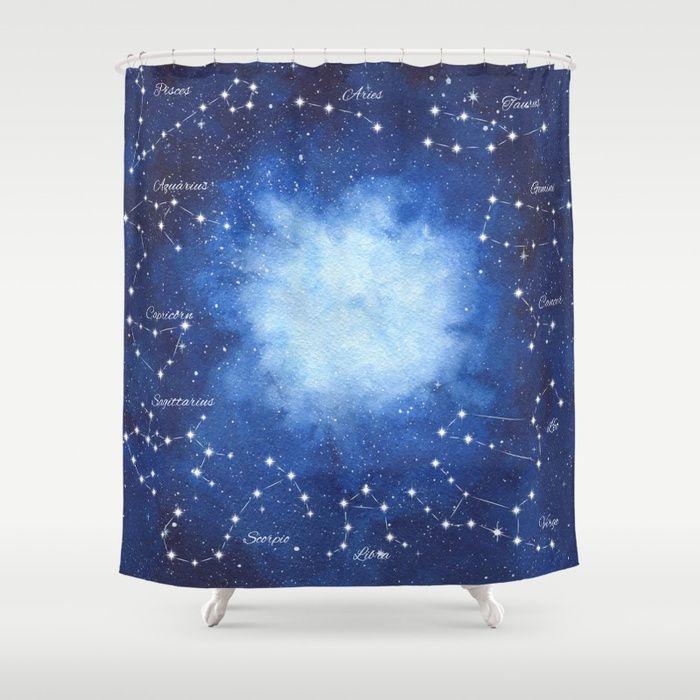 Cosmic Horoscope Shower Curtain #space #zodiac #signs #horoscope #universe #galaxy #nebula #stars #constellations #watercolor #painting #night #buy #buyonline #shopping #giftidea #present #cosmic #cosmos #society6 #bathroom decor #decoration