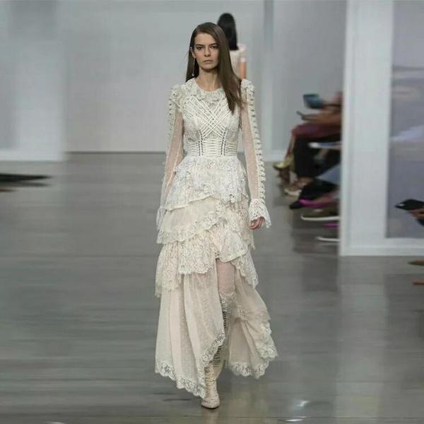 White lace wedding evening maxi dress