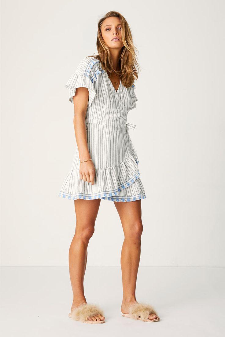 Suboo - Coco Wrap Frill Dress - White Stripe