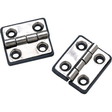 SeaChoice 50-33951 (2) 1-5/16 inch x 1-1/2 inch Polished Stainless Steel Butt Hinges with Black Nylon Base Plate, Silver