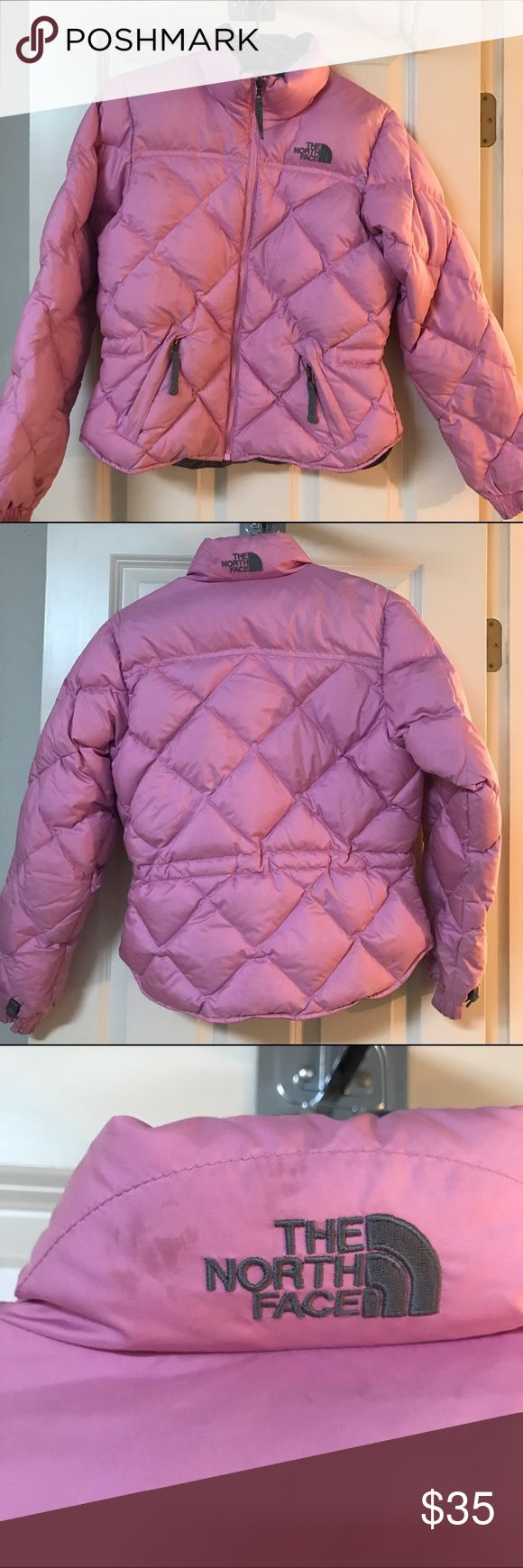 North Face Puffer Jacket North Face Puffer jacket. Size XS. Used. Has stains. I wore this snow skiing for many years. There are stains and spots but nothing drastic!! (See photos)...priced to sell.... No trades!! It fits very cute and does it's job!!! North Face Jackets & Coats Puffers