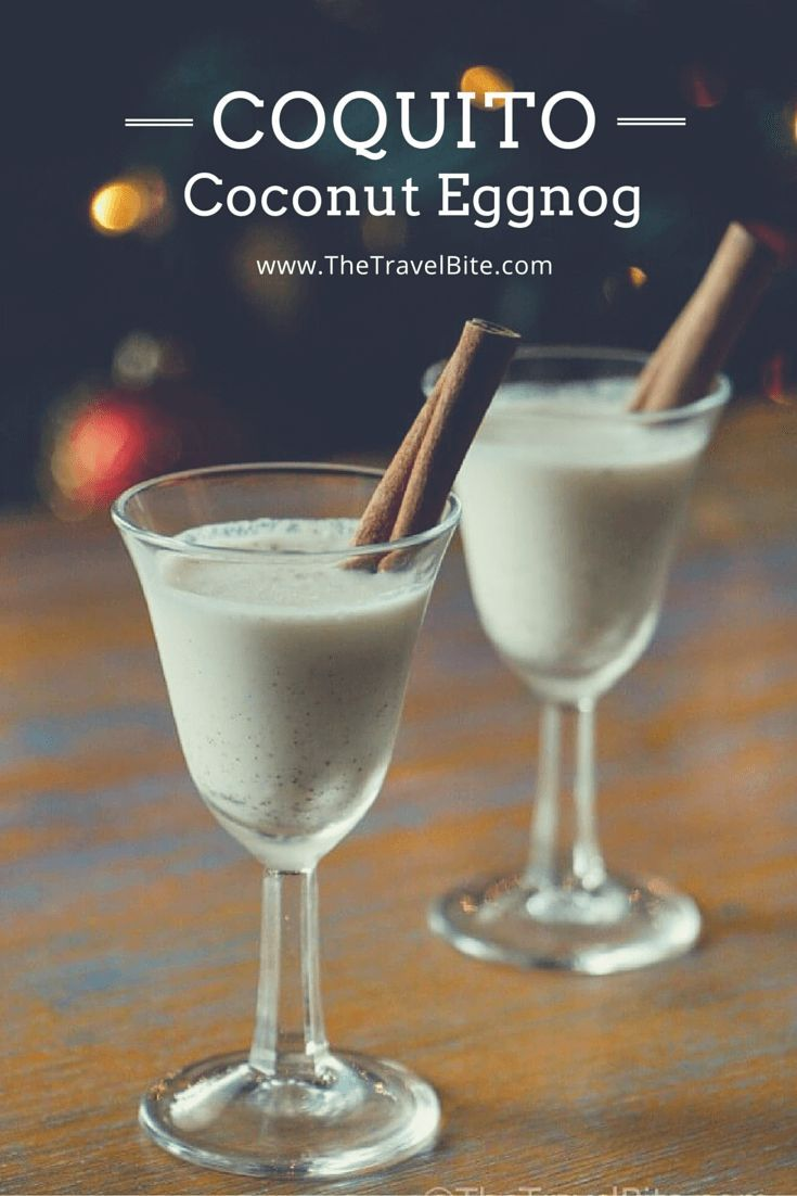 Coquito = Coconut Eggnog Recipe! This traditional holiday drink is similar to eggnog and consists of Puerto Rican rum mixed with coconut milk and and flavored with holiday spices like cinnamon, nutmeg, and clove.  It's kind of like coconut eggnog, but better.