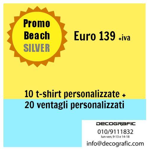 """Il pacchetto #Promobeach SILVER comprende 35 prodotti personalizzati: un """"posto al sole"""" per il tuo logo, che stampiamo su 25 ventagli e 10 t-shirt disponibili in tanti colori!  Per ordini:  http://www.decografic.com/contatti.html"""