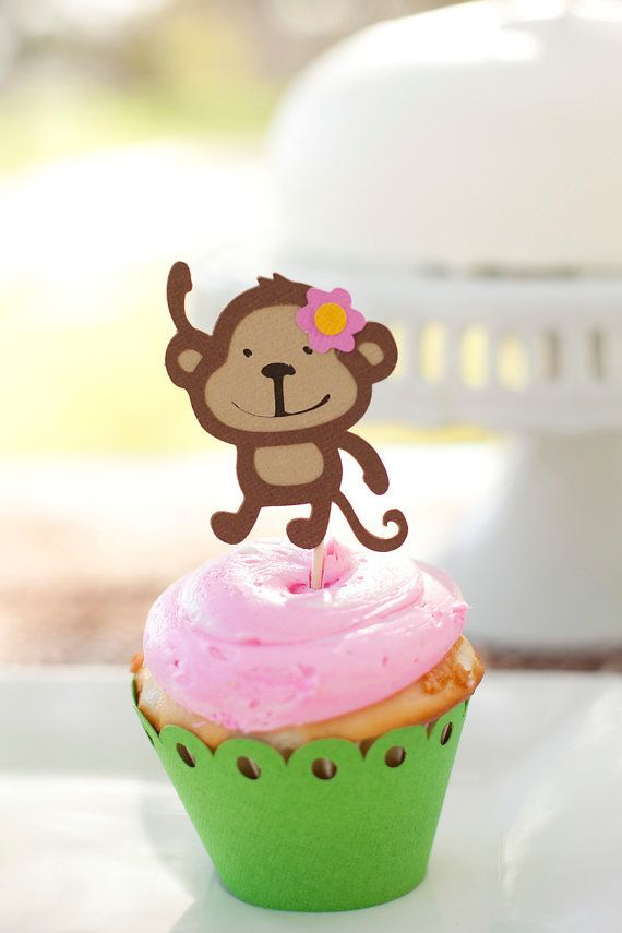 Mod Monkey  Jungle Theme Birthday Cupcake toppers by EMTsweeetie, $9.00