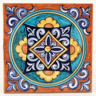 """<p>This ceramic wall and floor tile is entirely hand painted by Francesca Niccacci, an internationally renowned artist from Deruta. Her intricate geometric designs are a unique blend of sophisticated classic patterns and perfectly shaded colors. <br />Niccacci's handmade tiles are available in different sizes and shapes to fulfill any and all conditions or constraints. <a href=""""http://www.thatsarte.com/contacts"""">Contact us</a> with your ideas and projects: special orders are ..."""