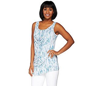 H by Halston Printed Tank with Draped Overlay