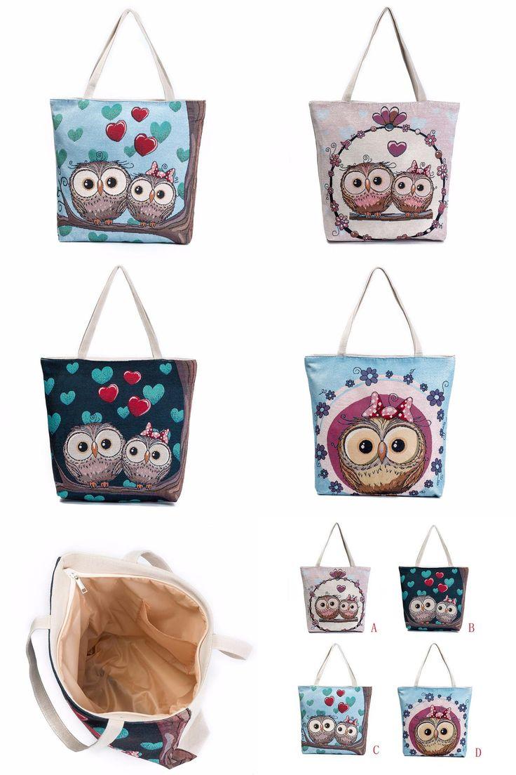 [Visit to Buy] Cartoon Animal Prints Shoulder Bag Women Large Capacity Zipper shopping Bags Female Canvas Handbag Beach Bag bolsas para mujer #Advertisement