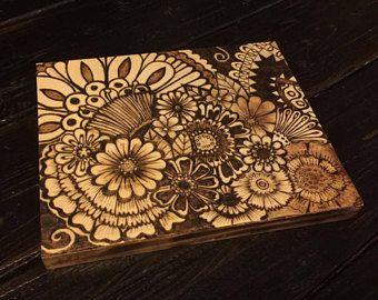 Pyrography Wood Burning Henna Style Flowers Design 8