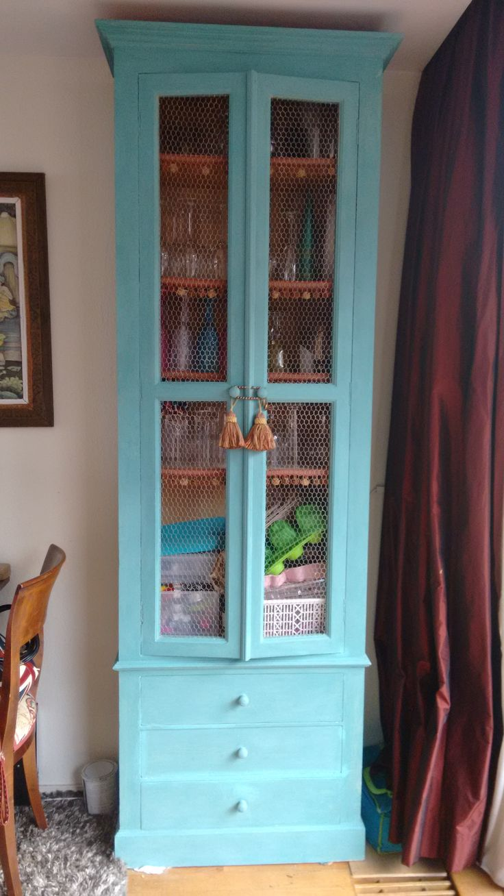 SOLD -High cabinet painted with Decorative chalk paint by Annie Sloan in Color Provence