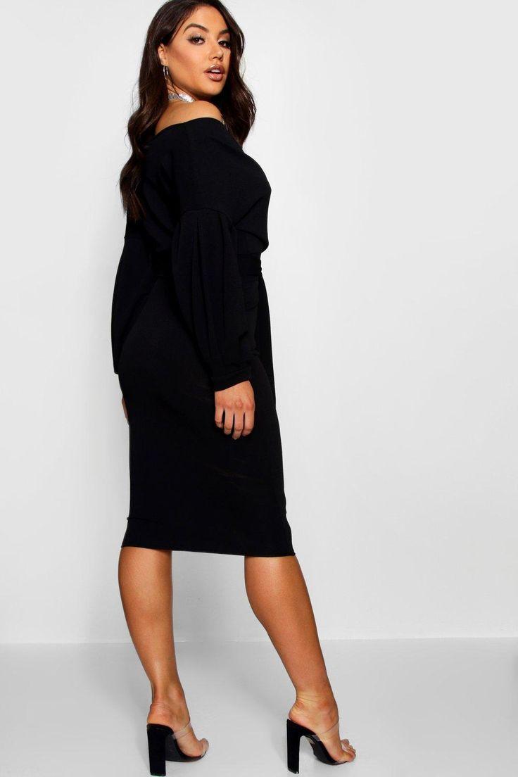 Womens Off The Shoulder Wrap Midi Bodycon Dress – black – 6