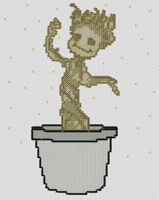Baby Groot - Cross Stitch Pattern by WhatSallyMade on Etsy https://www.etsy.com/listing/199528237/baby-groot-cross-stitch-pattern