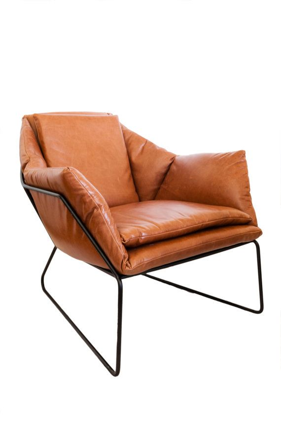 Mid Century Modern Leather Metal Frame Chair by KatieHodgesDesign