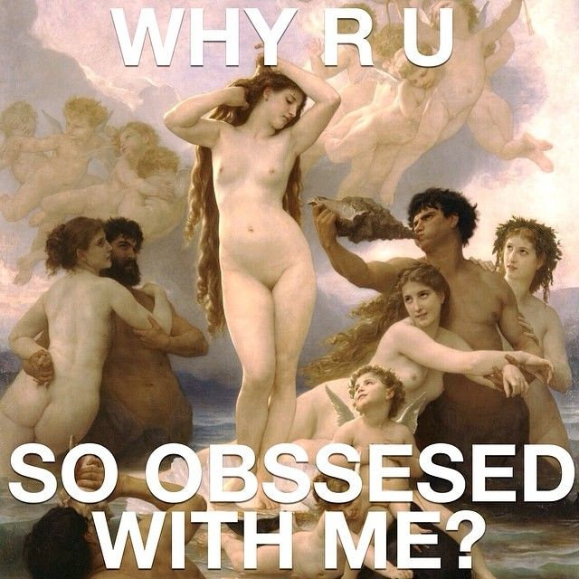 For William Adolphe Bouguereau's Venus, after she was born the whole world was just a bunch of Janie Ian's. None of them are getting invited to her pool party. #meangirls #meangirlsarthistory #arthistory #art #williamadolphebouguereau #reginageorge #birthofvenus #janiceian