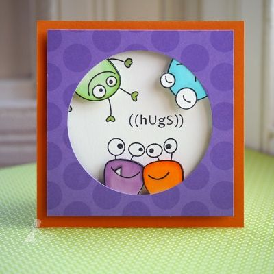 Cute Monster card - yes, they are stamps, but would be pretty easy to make by hand, too...