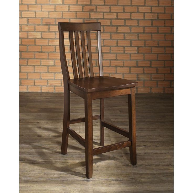 Crosley Furniture School House Vintage Mahogany Finish Bar Stool with 24-inch Seat Height