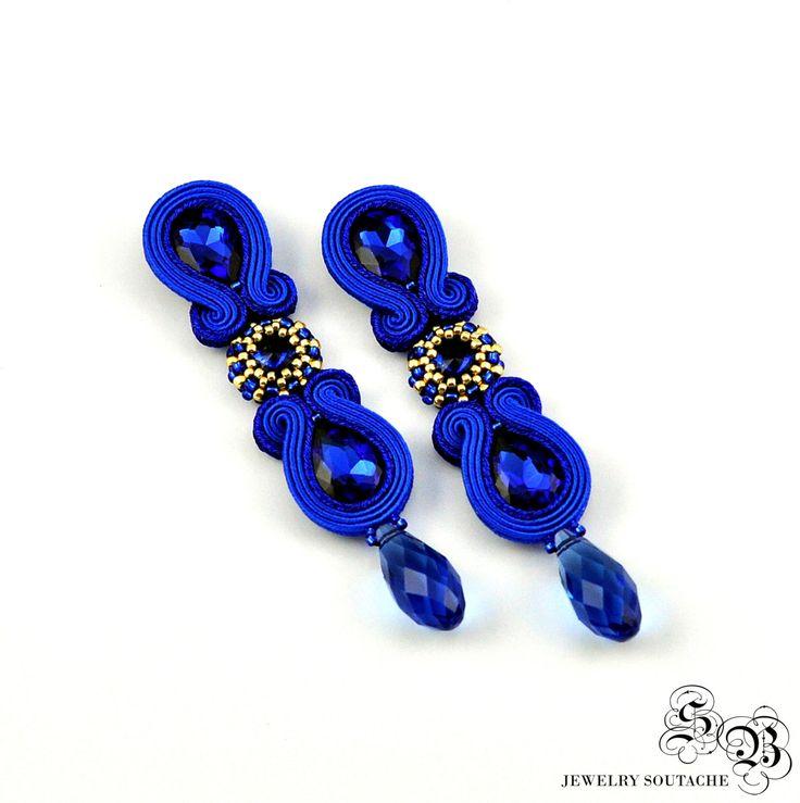 Clip on earrings, Blue Soutache Earrings, Long Blue Soutache Earrings, Beading…