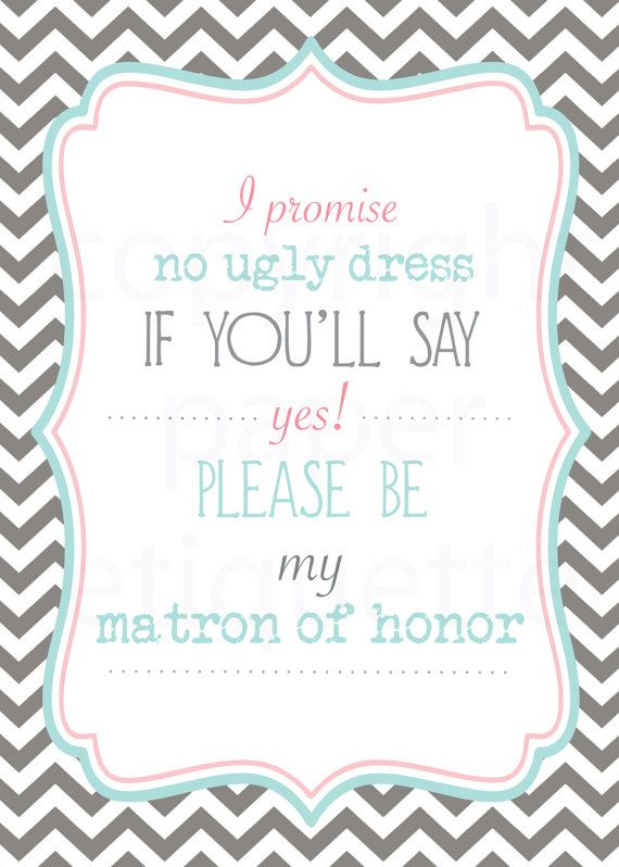 INSTANT UPLOAD Will You Be My Matron of Honor by PaperEtiquette