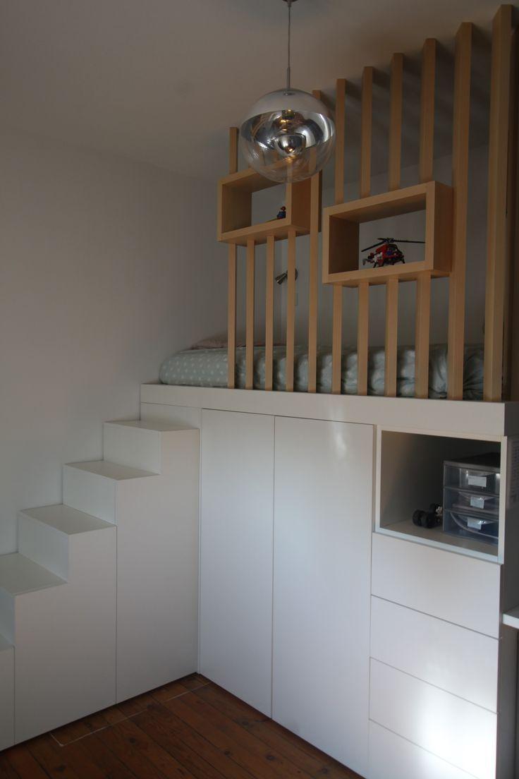 Chambre avec mezzanine esprit cabane scandinave! #petitsespace #studio #T1 #pet