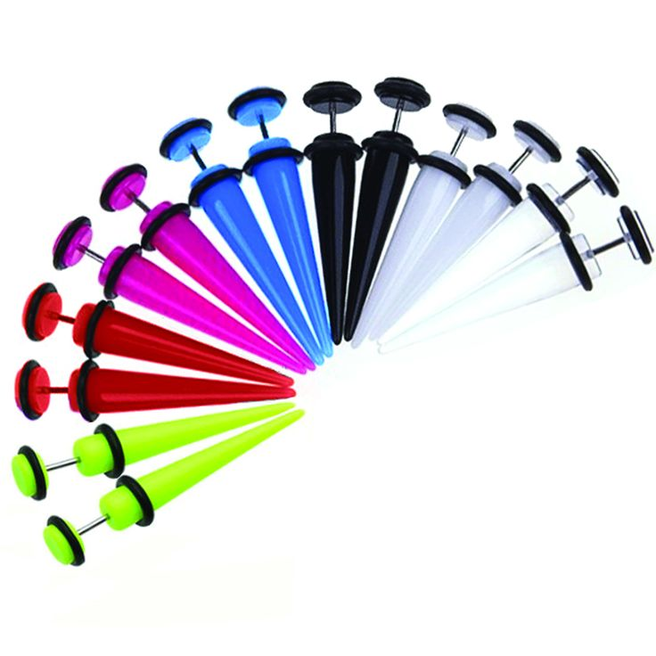 BodyJ4You® Fake Tapers Kit Illusion Cheater Multi-Color 0G Look Gauges Piercing Jewelry Set 14 Pieces