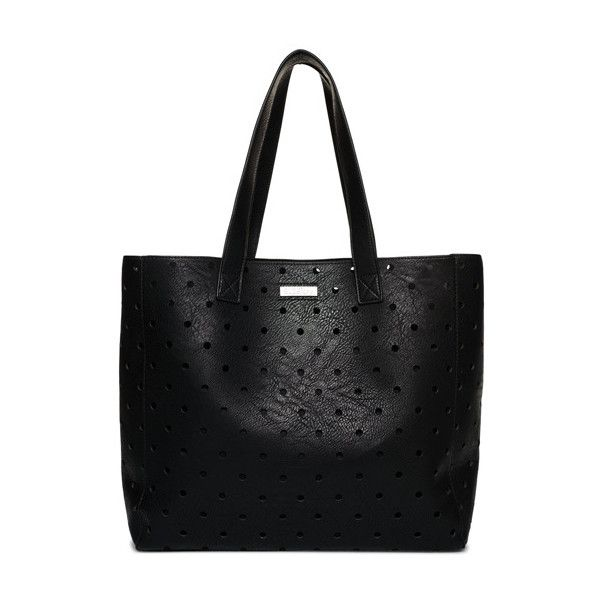 Superdry Spot Elania Tote Bag ($55) ❤ liked on Polyvore featuring bags, handbags, tote bags, black, handbag tote, polka dot handbags, handbags tote bags, laser-cut handbags and tote purses