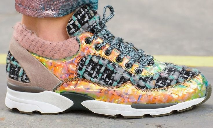 Rainbow of the Week: Chanel Fall 2014 Iridescent, Tweed, Rainbow Sneakers and Very Hight Top Sneakers