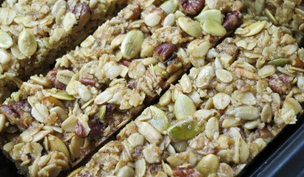 Homemade Granola Bars Recipe! Yummy!  1/3 Cup Maple Syrup 1/4 Cup Brown sugar 3/4 tsp Sea Salt 1/2 Cup Olive Oil 2 Cups Old-fashioned rolled oats 1/2 Chop Pecans/ mixed nuts, chopped fine 1/2 Cup Dates, chopped 1/2 Cup raw sunflower seeds 1 TB white chocolate chips